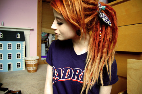 dreads, hair, hair dye, red