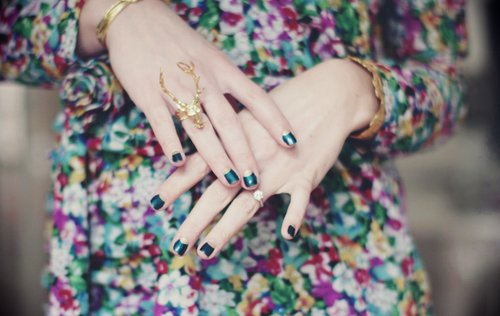 dress, fashion, floral, flowers, jewelery, nail polish, ring