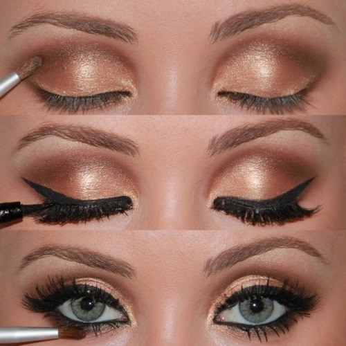 eyes, golden, makeup, mascara
