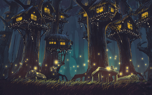 fantasy, firefly, forest, light, nature, night, scenery, tree, tree house, trees, view
