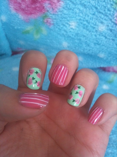fashion, floral, girly, nails, pink