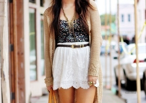 fashion, inspiration, lace, lovely, necklace, sequin, streetwear, vest, white skirt