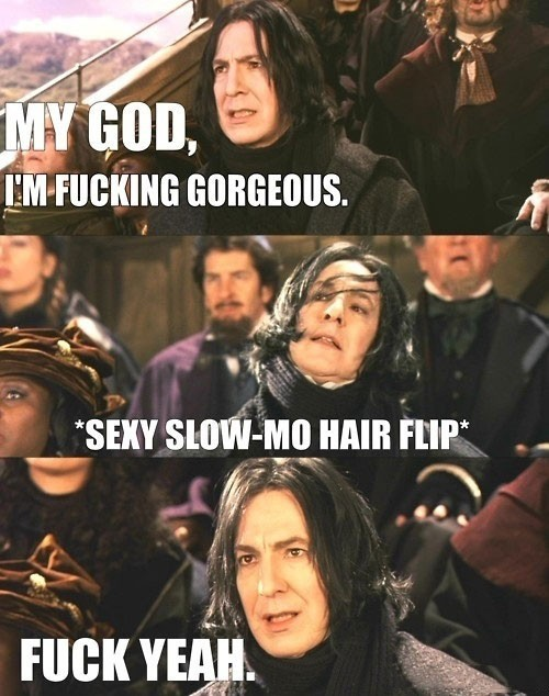 film, fuck yeah, funny, gorgeous, hahaha, hair, harry potter, movie, severus snape, text