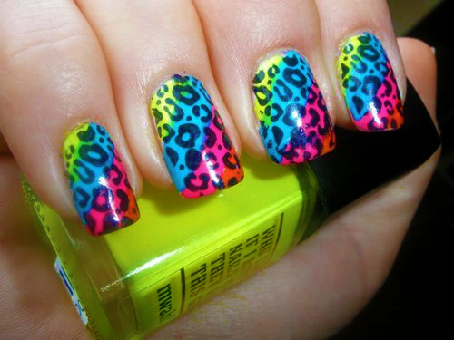 finger, leopard, nailpolish, nails, neon, print