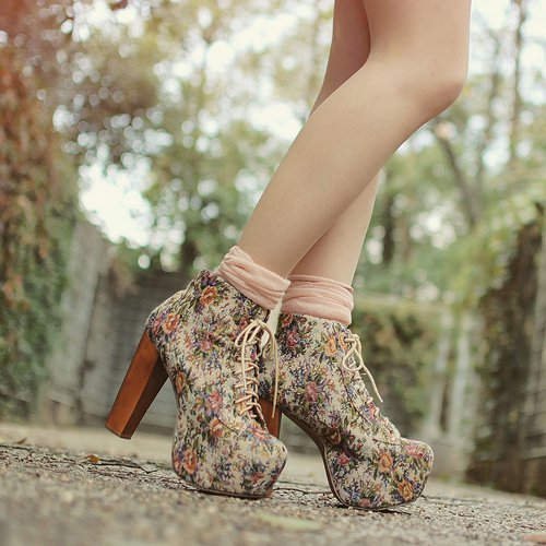 floral, heels, shoes, wedges