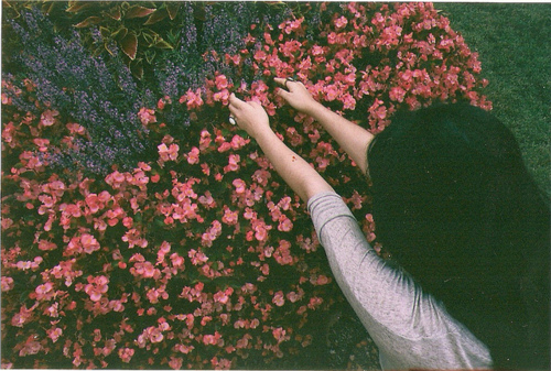 flowers, girl, indie, photo