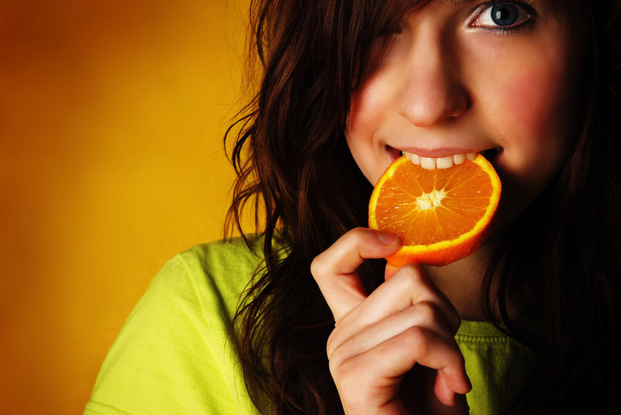 girl, hair, juice, orange, smile