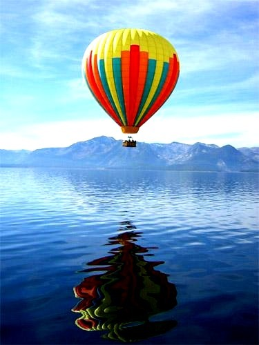 hot air balloon, landscape, mountains, photo, photography, sea, water