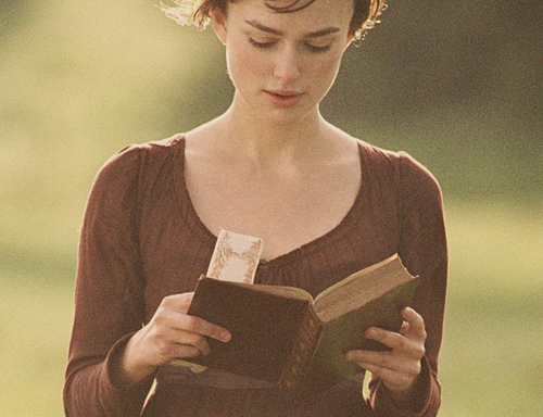 jane austen, kierra knightley, pride and prejudice, reading