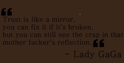 lady gaga, lyrics, mirror, telephone, text, trust